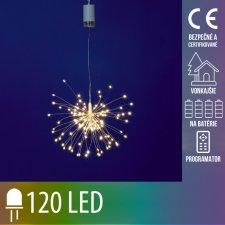 Vianočná LED svetelná ozdoba vonkajšia - na batérie + programy - Fireworks - 120 LED - Teplá biela+Multicolour