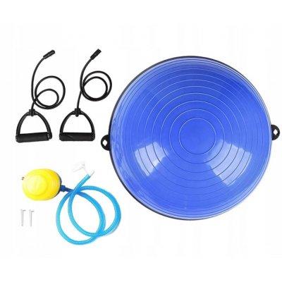 Bosu balančná lopta s gumami na cvičenie - BLUE