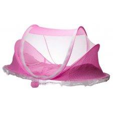 Cestovná detská postieľka 3v1 – rúžová