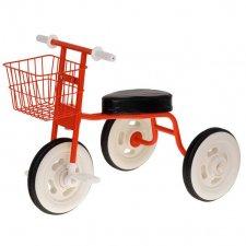 Detská retro trojkolka s košíkom - červená