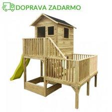 Drevený záhradný domček pre deti HUBERT + 120cm šmýkalka