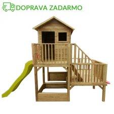 Drevený záhradný domček pre deti HUBERT + 60 cm I 120 CM šmýkalka