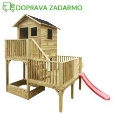 Drevený záhradný domček pre deti HUBERT + 60 cm šmýkalka