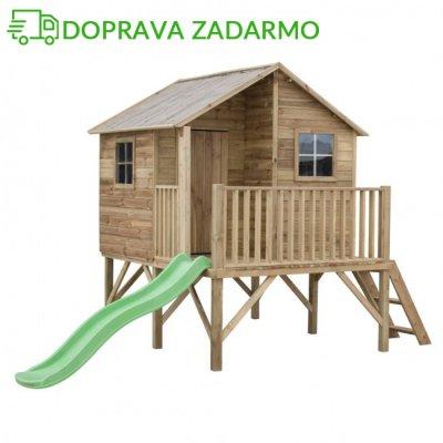 Drevený záhradný domček pre deti JOSH + šmýkalka