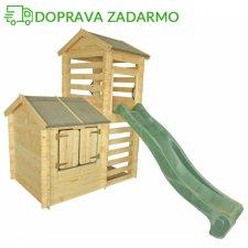 Drevený záhradný domček pre deti VOJTO + šmýkalka