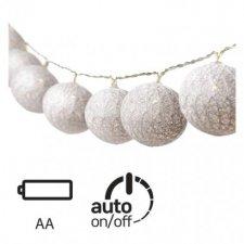 LED girlanda – gule bavlnené, strieb., 2× AA, teplá b., č.
