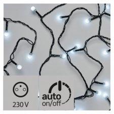 LED vianočná cherry reťaz – guľôčky, 20m, studená b., čas.