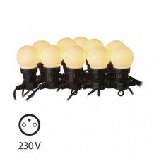 LED svetelná reťaz – 10× párty žiarovky mliečne, 5m,teplá b.