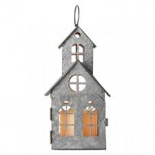 LED dekorácia – domček starodávny, 3× AAA, blik., teplá b.