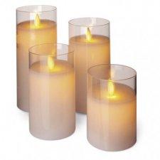 LED sviečky, 5×10/12,5/15/17,5cm, biele, 2× AA, 4 ks
