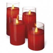 LED sviečky, 5×10/12,5/15/17,5cm, červené, 2× AA, 4 ks