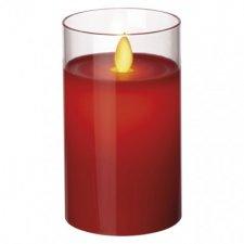 LED sviečka v skle, červená, 5×12,5cm, 2× AA