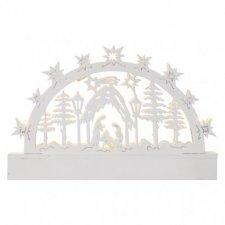 LED vianočný betlehem, 23cm, 3× AA, teplá biela, časovač