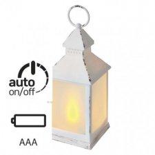 LED dekorácia - 6x lampáš mliečny, 3x AAA, biela, vintage