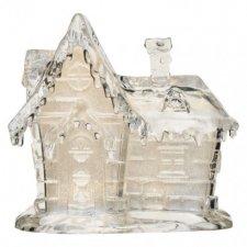 LED vianočný domček akrylový, 15cm, 3× AAA, teplá biela