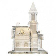 LED kostol akrylový, 21cm, 3× AAA, teplá biela