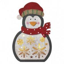 LED vianočný tučniak drevený, 30cm, 2× AAA, teplá b., čas.