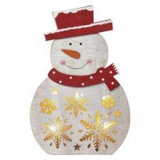 LED vianočný snehuliak drevený, 30cm, 2× AAA, teplá b., čas.