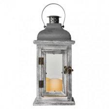 LED dekorácia - lampáš drevený, 3x AAA, sivý, vintage