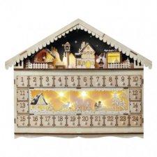 LED adventný kalendár, 19x40cm, 2x AA, vnútorný, teplá biela