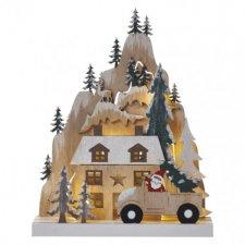 LED vianočná krajina, 22cm, 2× AA, teplá biela, časovač