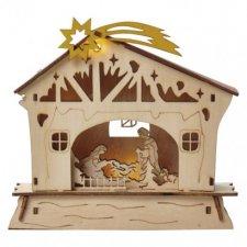 LED vianočný betlehem, 18cm, 2× AAA, teplá biela, časovač