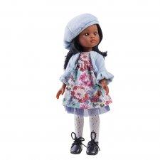 Bábika Nora v kvetovaných šatách 32cm