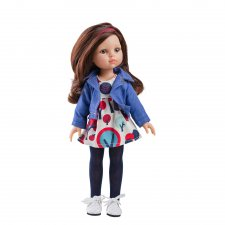 Bábika Carol s modrou bundou 32cm