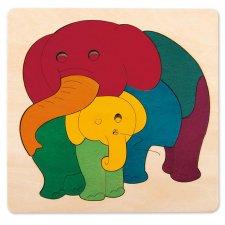 Vkladacie puzzle Dúhoví sloníci