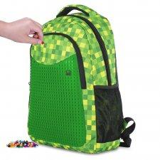 Školský batoh kockovaný zelený 24 l
