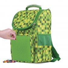 Školská taška kockovaná zelená 21 l