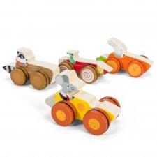 Pretekári z lesa (drevené autíčko so zvieratkom)