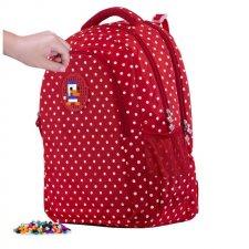 Batoh bodkovaný červeno-biely