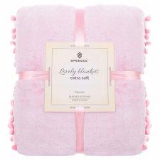 SPRINGOS Prehoz na posteľ s malými pomponmi 160x200 cm - svetlo ružový