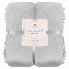 SPRINGOS Prehoz na posteľ s malými pomponmi 200x220 cm - sivý