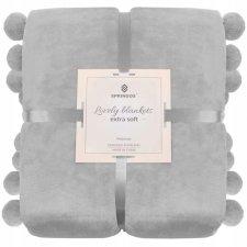 SPRINGOS Prehoz na posteľ s veľkými pomponmi 200x220 cm - sivý