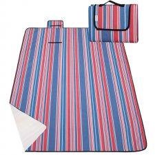 SPRINGOS Pikniková deka 200x150 - modro-červené pruhy