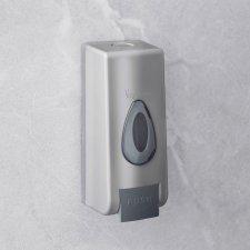 Dávkovač mydla - s ručným dávkovaním - 350 ml - na stenu - strieborný