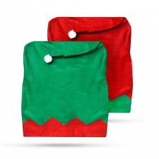 Dekorácia na stoličku - škriatkovská čiapka červená / zelená