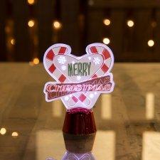 Vianočná LED dekorácia na stôl - s lesklým podstavcom - srdce - 11 cm