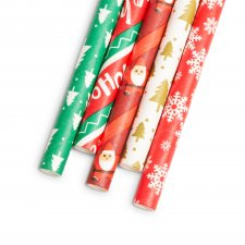 Papierová slamka - Vianočná - 197 x 6 mm - 25 ks /  balenie