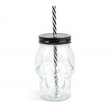 Sklenený pohár v tvare lebky s vrchnákom a slamkou