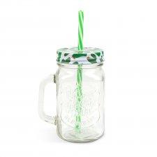 Sklenený pohár v tvare džbánu s vrchnákom a slamkou