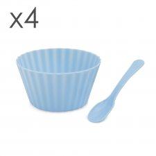 Zmrzlinový pohár s lyžičkou - modrý, ružový - 4 ks / balenie