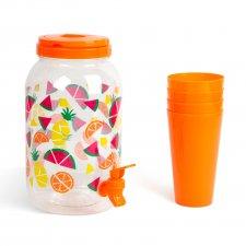 Dávkovač nápojov s kohútikom a sadou pohárov