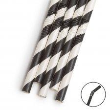 Papierová slamka - čierna prúžkovaná