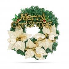 Vianočný veniec - v zlatej farbe - 40 cm