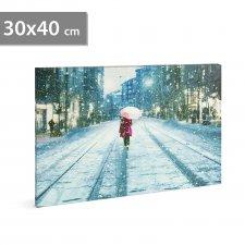 LED obrázok na stenu - zimná krajina -  2 x AA, 30 x 40 cm