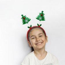 Vianočná čelenka sada -mikuláš, vianočný strom, sob