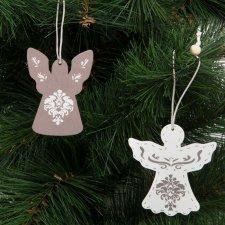 Ozdoba na vianočný strom - anjelik - zavesiteľný - drevo - 7 x 5 cm